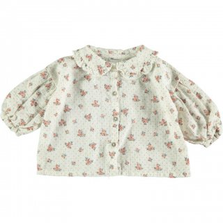 30% OFF SALE - Flower Print Blouse with Puff Sleeves
