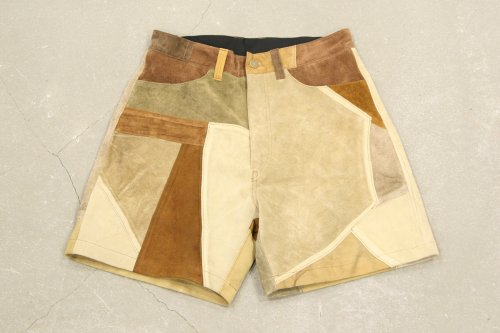 <img class='new_mark_img1' src='//img.shop-pro.jp/img/new/icons47.gif' style='border:none;display:inline;margin:0px;padding:0px;width:auto;' />Children of the discordance / VINTAGE PATCH LEATHER SHORTS(BROWN) - COLOR 2