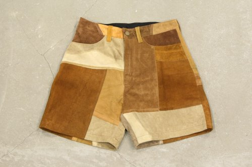 <img class='new_mark_img1' src='//img.shop-pro.jp/img/new/icons47.gif' style='border:none;display:inline;margin:0px;padding:0px;width:auto;' />Children of the discordance / VINTAGE PATCH LEATHER SHORTS(BROWN) - COLOR 1