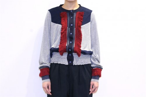 <img class='new_mark_img1' src='//img.shop-pro.jp/img/new/icons41.gif' style='border:none;display:inline;margin:0px;padding:0px;width:auto;' />NON TOKYO / FRINGE CARDIGAN(GRAY/NAVY)