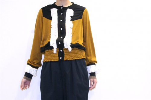 <img class='new_mark_img1' src='//img.shop-pro.jp/img/new/icons41.gif' style='border:none;display:inline;margin:0px;padding:0px;width:auto;' />NON TOKYO / FRINGE CARDIGAN(MUSTARD/BLACK)