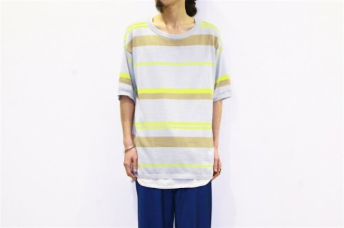 <img class='new_mark_img1' src='//img.shop-pro.jp/img/new/icons47.gif' style='border:none;display:inline;margin:0px;padding:0px;width:auto;' />CITY / BORDER KNIT TEE(GREY×YELLOW)