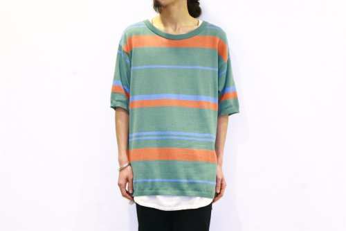 <img class='new_mark_img1' src='//img.shop-pro.jp/img/new/icons47.gif' style='border:none;display:inline;margin:0px;padding:0px;width:auto;' />CITY / BORDER KNIT TEE(GREEN×ORANGE)