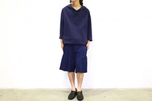 house of the very island's... / LOOSE CUT TROUSERS WITH DEEP PLEATS - SHORT(DARK BLUE)