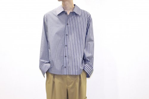 <img class='new_mark_img1' src='//img.shop-pro.jp/img/new/icons47.gif' style='border:none;display:inline;margin:0px;padding:0px;width:auto;' />VOAAOV / STRIPE SHIRT BLOUSON (NAVY)