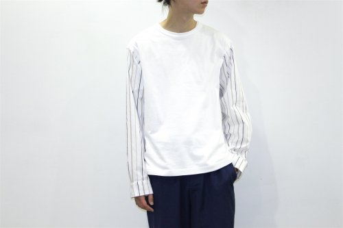 <img class='new_mark_img1' src='https://img.shop-pro.jp/img/new/icons47.gif' style='border:none;display:inline;margin:0px;padding:0px;width:auto;' />THEE / stripe long sleeve t-shirts.(WHITE)