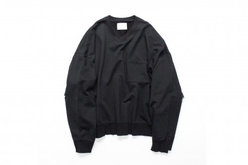 <img class='new_mark_img1' src='https://img.shop-pro.jp/img/new/icons47.gif' style='border:none;display:inline;margin:0px;padding:0px;width:auto;' />stein / DIVIDE SLEEVE V NECK SWEAT LS(BLACK)