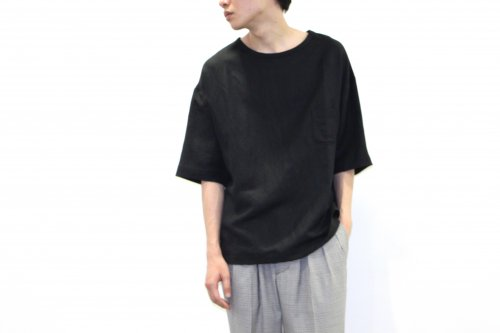 <img class='new_mark_img1' src='https://img.shop-pro.jp/img/new/icons2.gif' style='border:none;display:inline;margin:0px;padding:0px;width:auto;' />THEE / linen rayon t-shirt.(BLACK)