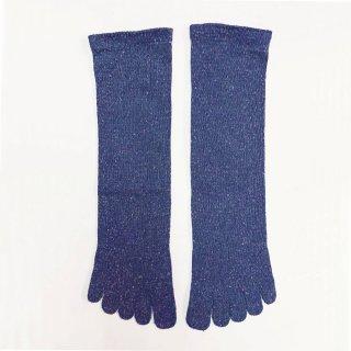 絹糸屋さんの『足指、いきいき。』シルクネップツイード五本指靴下 〜つむぎシルク・絹紬糸〜 ブルーベリー
