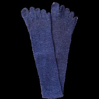 絹糸屋さんのシルクネップツイード五本指靴下 〜つむぎシルク(絹紬糸)〜|ブルーベリー