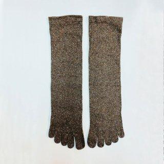 絹糸屋さんのシルクネップツイード五本指靴下 〜つむぎシルク(絹紬糸)〜| ブラウニー