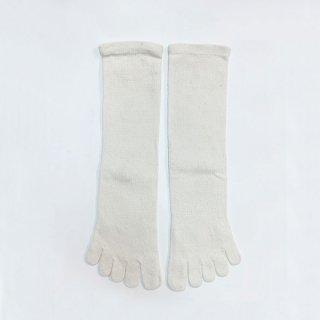絹糸屋さんのシルクネップツイード五本指靴下 〜つむぎシルク(絹紬糸)〜| アイボリー