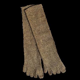 絹糸屋さんのシルクネップツイード五本指靴下 〜つむぎシルク(絹紬糸)〜| カーキー