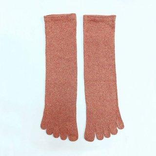 絹糸屋さんの『足指、いきいき。』シルクネップツイード五本指靴下|〜つむぎシルク・絹紬糸〜|トマト