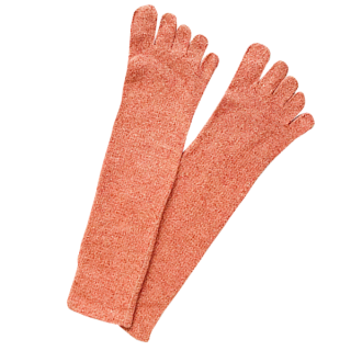 絹糸屋さんのシルクネップツイード五本指靴下 〜つむぎシルク(絹紬糸)〜| トマト