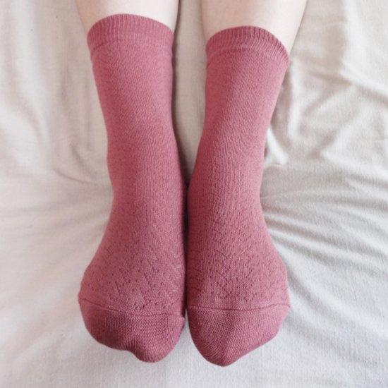 つむぎシルク(絹紬糸)の二重編みソックス ローズピンク