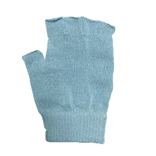 絹糸屋さんの『なんだか、ほっこり。』ふんわりシルク手袋|指あきタイプ 〜つむぎシルク・絹紬糸〜|ブルー