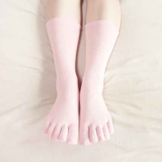 つむぎシルク(絹紬糸)のしっかりふんわり五本指靴下 ピンク