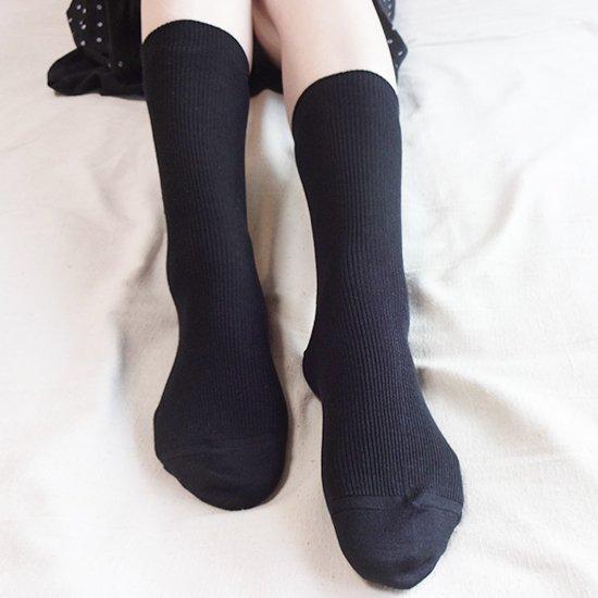 【送料無料】【季節のセール!】けんぼうシルク(絹紡糸)の先丸ソックス ブラック