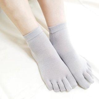 けんぼうシルク(絹紡糸)のなめらかフィット五本指靴下 スニーカー丈|ライトグレー