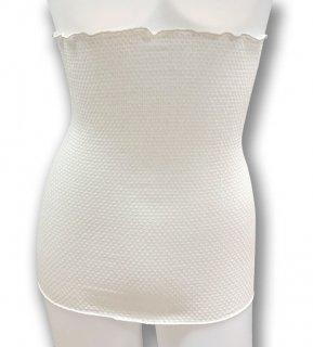 絹糸屋さんの『まぁ、ぴったり。』絹結晶シルク腹巻|シングル丈35cm 〜極細番手シルク・絹紡糸〜|きなり(アイボリー)