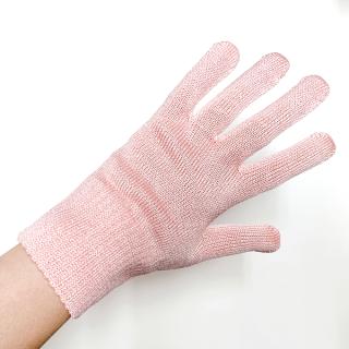 絹糸屋さんの『おそとで育った蚕の力。』野蚕生糸のシルク手袋 〜フィラメントシルク・生糸〜|ピンク