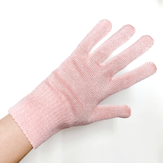 絹糸屋さんの『おそとで育った蚕の力。』野蚕生糸のシルク手袋 〜フィラメントシルク・生糸〜 ピンク