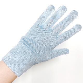 絹糸屋さんの『おそとで育った蚕の力。』野蚕生糸のシルク手袋 〜フィラメントシルク・生糸〜 ブルー