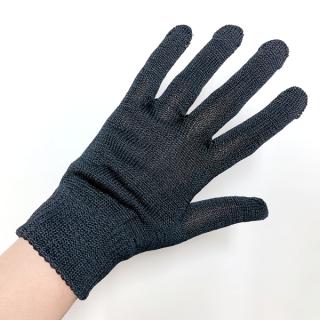 絹糸屋さんの『おそとで育った蚕の力。』野蚕生糸のシルク手袋 〜フィラメントシルク・生糸〜|ブラック