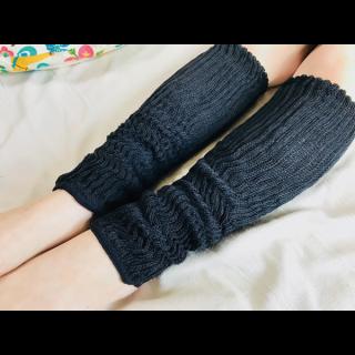 絹糸屋さんの『早く寝たい夜に。』シルクレッグウォーマー|〜つむぎシルク・絹紬糸〜|ブラック
