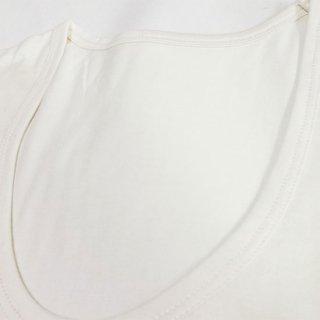 極細番手絹紡シルク(絹紡糸)の紳士U首長袖肌着