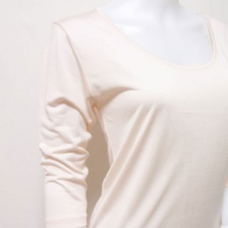 極細番手絹紡シルク(絹紡糸)の七分袖肌着