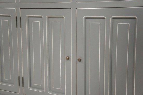 アンティーク調 カウンター 抽斗 引戸 収納棚 レジ台 グレー 木目天板 店舗什器 ロング