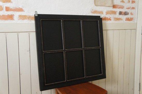 アンティーク調 木製窓枠 鏡 壁掛けミラー シャビー ブラック 6枠 黒艶消し