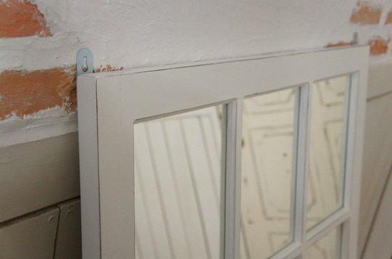 アンティーク調 木製窓枠 鏡 壁掛けミラー シャビー ホワイト 6枠