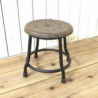 レトロな鉄脚スツール 座面チーク 無垢材 作業椅子 低い丸椅子 チェア 男前 ブラック