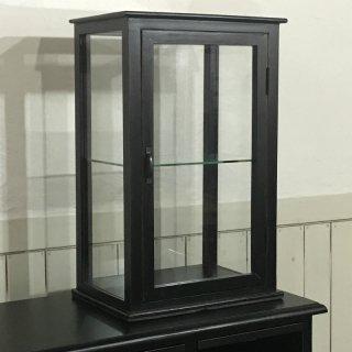 卓上 ガラスケース 古木 2段 5面 収納棚 飾り棚 縦長 駄菓子 店舗什器 ブラック