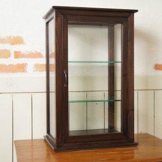 卓上 ガラスケース 古木 3段 5面 収納棚 飾り棚 縦長 駄菓子 店舗什器 ダーク