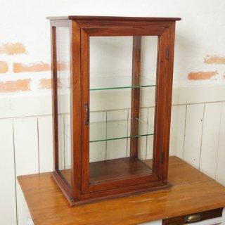 卓上 ガラスケース 古木 3段 5面 収納棚 飾り棚 縦長 駄菓子 店舗什器 マホガニー