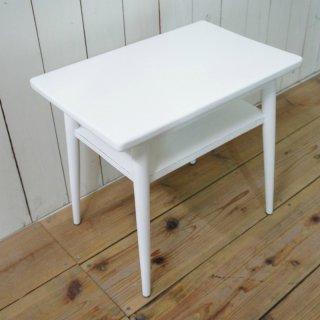アンティーク調 木製 ベッドサイドテーブル チーク無垢 小 ホワイト