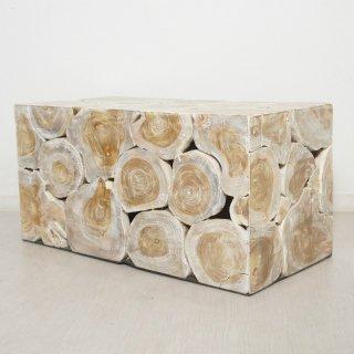 チーク 木製 ブロックスツール ロング ホワイトウォッシュ