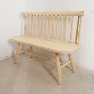 【送料無料】ミンディ無垢 背有 木製ベンチ 長椅子 カントリー家具 W120 未塗装