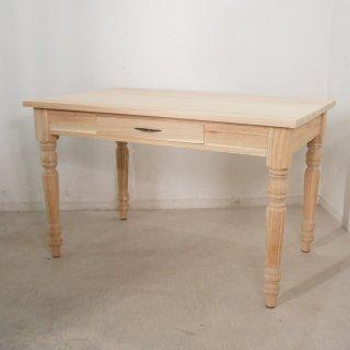 【送料無料】アンティーク調 ミンディ無垢 引き出し2杯 木製 ダイニングテーブル W120cm 未塗装