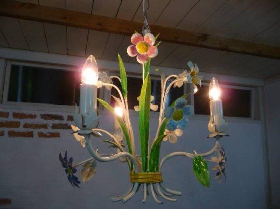 アンティーク調 フラワー 3灯ランプ