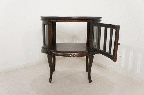 アンティーク調 オーバル ティーテーブル 猫脚 キャビネット 木目