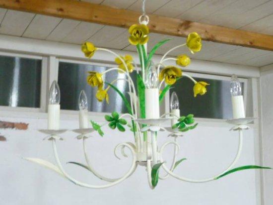 アンティーク調  フラワー 5灯ランプ アイアン