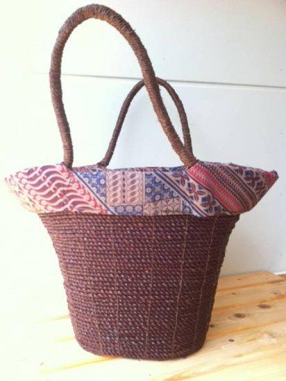 天然パンダン手編み  巾着トートバッグ #P204