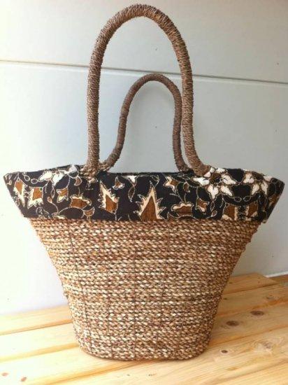 天然パンダン手編み  巾着トートバッグ #N205