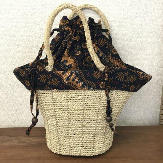 天然パンダン手編み  巾着トートバッグ #N206