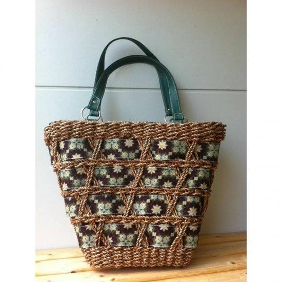 天然パンダン手編み ジッパー トートバッグ #G102